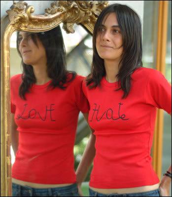 """T-skjorte der det står """"Hate"""", men som blir """"Love"""" hvis du ser den i speilet."""