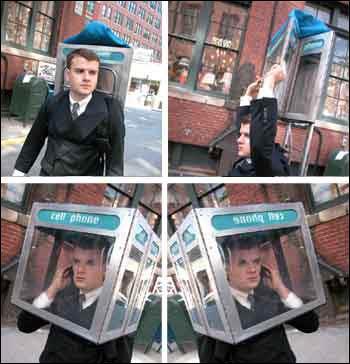 Bærbar telefonkiosk, så slipper du å forstyrre andre når du snakker i mobilen. (Kilde: Ukjent)