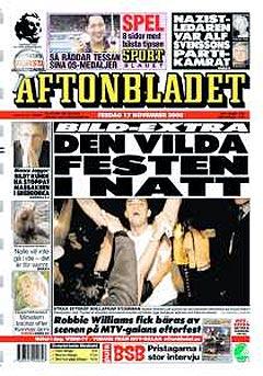 Aftonbladet sin forside etter festnatten i 2000. Foto: Faksimile Aftonbladet.
