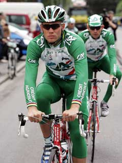 Thor Hushovd foran med Julian Dean på hjul før Tour de France i 2004. (Foto: Cornelius Poppe / SCANPIX)