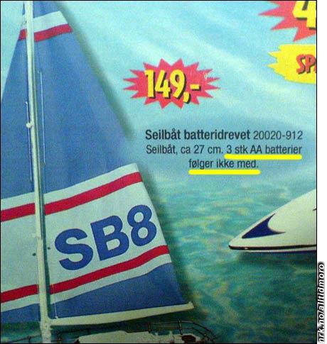 Det er mye som IKKE følger med denne seilbåten fra BRIO, blant annet tre batterier.