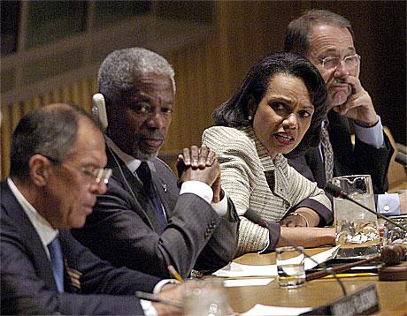 Kvartetten: Den russiske utenriksministeren Sergei Lavrov , FNs generalsekretær Kofi Annan, USAs utenriksminister Condoleezza Rice og EUs Javier Solana .(Foto:AFP/Scanpix)