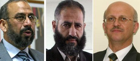 Religionsminister Nasser Nayef Rajoub (t.v), finansminister Omar Abdelrazek og Samir Abu Eisheh er alle tatt til fange. (Foto: AFP/Scanpix)