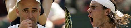 Andre Agassi og Rafael Nadal. (foto: SCANPIX)
