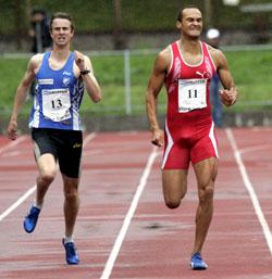 Morten Sand (til venstre) og Quincy Douglas løper trolig for Norge. (Foto: Terje Bendiksby / SCANPIX)