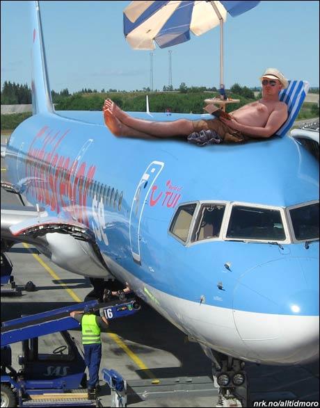 Mot et tillegg i prisen fikk jeg en super plass på flyet ned. (Alltid Moro)