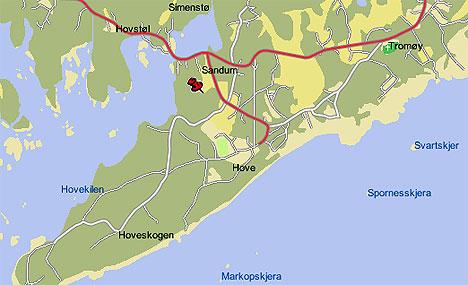 I området som heter Hove på Tromøya utenfor Arendal planlegges en ny stor rockefestival neste sommer. Kartfoto: Finn.no.