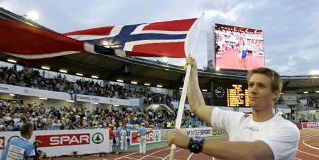 Andreas Thorkildsen etter at han vant spydfinalen i EM. (Foto: Cornelius Poppe / SCANPIX)