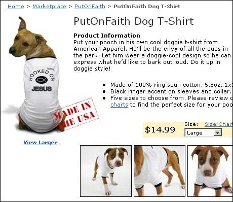 """T-skjorta for hunder som er """"hekta på Jesus""""."""