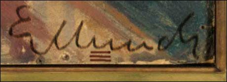Tre røde streker var satt under bokstaven U i Munchs signatur. (Originalfoto: Scanpix)