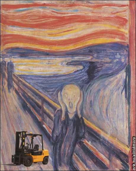 - Maleriet er stort sett uskadet, men det har fått seg en truck i det ene hjørnet. (Innsendt av Gaute Hansen)