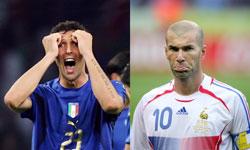 Marco Materazzi og Zinedine Zidane. (Foto: AFP/ SCANPIX)