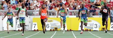 Jaysuma Saidy Ndure (nr 2 fra venstre) ble nummer seks i verdensfinalen. Tyson Gay (til høyre for Ndure) vant. (Foto: AP/Scanpix)