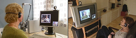 Pasient Karin Ludvigsen (t.h.) har TV-kontakt via Internett med fysioterapeut Marijke Risberg.