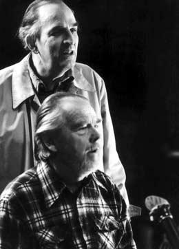 """Nykvist jobben i mange år sammen med Ingmar Bergmann. Her er de i arbeid med innspillingen av """"Fanny og Alexander"""". Arkivfoto: Stefan Lindblom / Scanpix"""