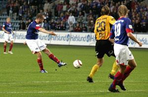 Grindheim scoret kampens eneste mål. (Cornelius Poppe / SCANPIX)