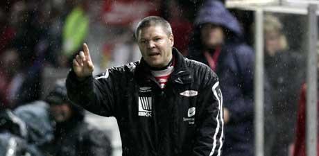 Brann-trener Mons Ivar Mjelde på sidelinjen under kampen mot Rosenborg. (Foto: Gorm Kallestad / SCANPIX)