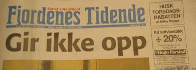 Fjordenes Tidende-framside frå 2006.