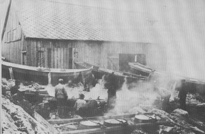 Notbarking på Nabben ca. 1912. Foto: Kristofer Djupedal