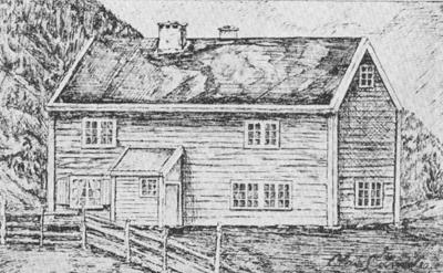 Det første skulehuset i Vik. Teikning frå Målreisingssoga i Sogn og fjordane