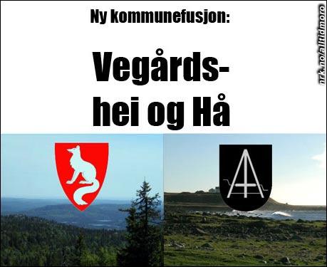 Vegårdshei og Hå kommuner fusjonerer. (Innsendt av Øyvind Gjerde)