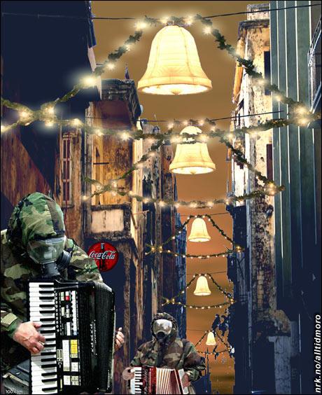 Gatemusikanter julen 2023. Blir nok vanskelig å stanse forurensningen, ja... (Innsendt av Omar Øverland)