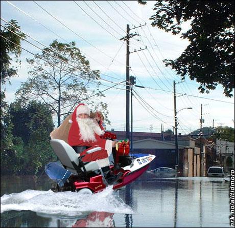 Julenissen tilpasser seg miljøendringene, og velger alternativ transport. (Innsendt av Tom Henning Evensen)