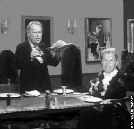"""Under den avsluttende middagen på Stortinget i går underholdt Per Sandberg og Thorbjørn Jagland med sin framføring av """"Grevinnen og hovmesteren""""-sketsjen. (Alltid Moro)"""