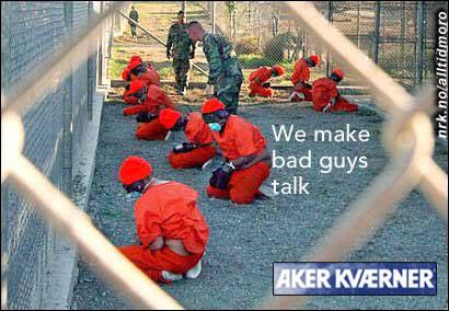 Aker Kværner spiller på sitt engasjement på Guantanamo-basen i sin nye reklamekampanje. (Innsendt av Skoganvarre)