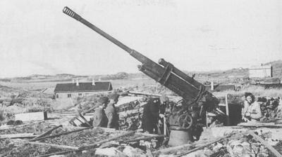 Slike kanoner var plasserte på Eimind. Biletet er frå Hjeltefjorden. Foto: Kystartilleriet