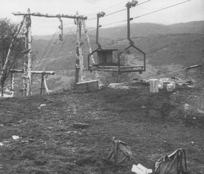 Taubane til arbeidet med spennet over Sognefjorden. Foto: As Betonmast