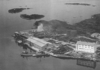 Sildoljefabrikken i Gunhildvågen i 1956. Foto: Telemark Flyveselskap