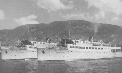 To tidlegare minesveiparar vart til MS Sognefjord og MS Sunnfjord. Foto utlånt frå Berge Sjøfartsmuseum