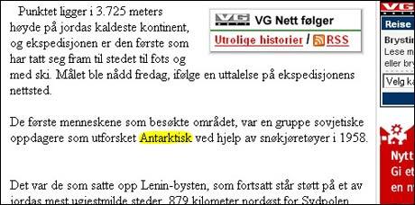 """VG 22/1 2007: Introduserer det nye superlativet """"antarktisk""""."""