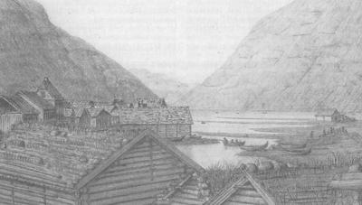 Lærdalsøyri i 1846, etter teikning av J. N. Prahm, frå Årbok for Sogn 2006