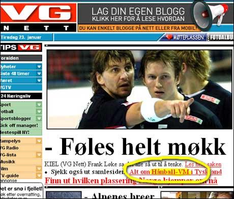 VG 23/1: Er så skuffet over den norske VM-innsatsen at de lanserer ordet Hånball.