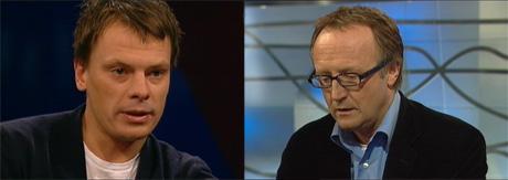 Forfatter Håvard Melnæs møter tidligere arbeidsgiver Odd Johan Nelvik i Standpunkt. (Montasje: NRK)