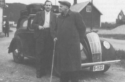 Matias Orheim (til h.) på forkynningsferd saman med Sigurd Bødal i 1947.
