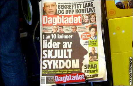 Dagbladets forside torsdag 8/3 2007.