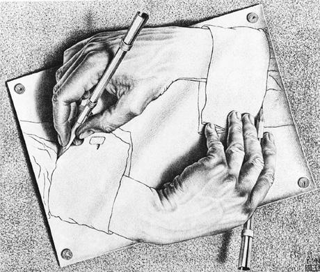 Et par hender som strekker seg ut av papiret og tegner seg selv er et av de mest kjente bildene til grafikeren Maurits C. Escher. Hans blanding av kunst og optiske illusjoner gjorde ham verdenskjent. Foto: Scanpix