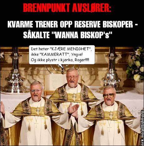 Yngve Hågensen og Roger Whittaker trenes opp til å fungere som stand-in for biskop Kvarme. (Innsendt av Roar Kleven)