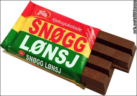 Nynorsk Kvikk Lunsj, made in Volda. (Innsendt av Omar Øverland)