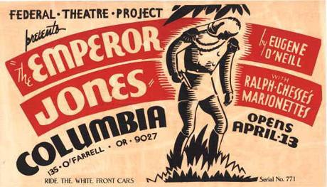 KEISER JONES: Gammel teaterplakat fra amerikansk oppsetning (faksimile)