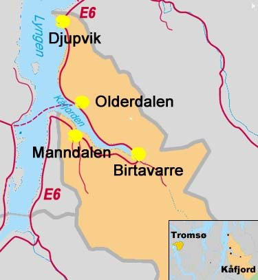 Oversikts kart over Kåfjord kommune