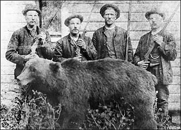 Det er mange bjørnar som har måtta bøte med livet i Sogndal kommune. Dette biletet er teke i Jordal ved Fjærlandsfjorden på slutten av 1800-talet.
