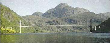 Slik kunne Dalsfjordbrua ha sett ut. (Biletmontasje)