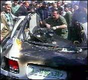 Offiseren ble drept da bilen hans satt i ble beskutt (foto:EBU).