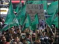 Det var kraftige palestinske demonstrasjoner mot Colin Powels besøk i Ramallah i dag.