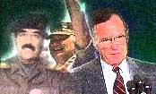Tidligere president George Bush har et uoppgjort forhold med Iraks diktator Saddam Hussein etter Gulfkrigen,