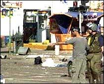 Bomben gikk av i nærheten av den sentrale busstasjonen midt i Netanya, en kystby mellom Tel Aviv og Haifa. (Foto: EBU)